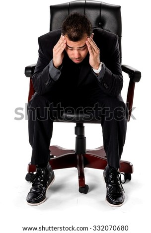 Embarrassed Asian man with short black hair in business formal outfit being sick - Isolated