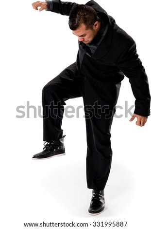 Embarrassed Asian man with short black hair in business formal outfit with arms open - Isolated