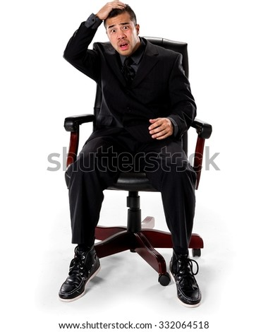embarrassed asian man with short black hair in business formal outfit with hands on head - Office Chair For Short Person