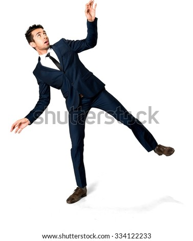 Embarrassed Caucasian man with short dark brown hair in business formal outfit with arms open - Isolated