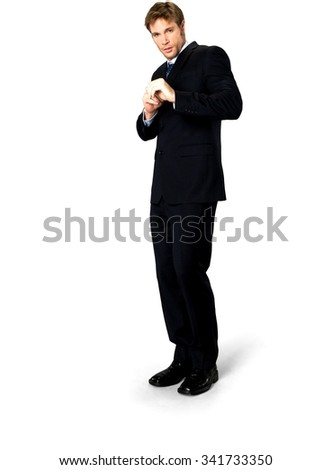 Embarrassed Caucasian man with short medium blond hair in business formal outfit defending with body - Isolated