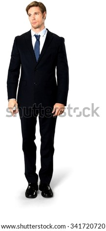 Embarrassed Caucasian man with short medium blond hair in business formal outfit - Isolated