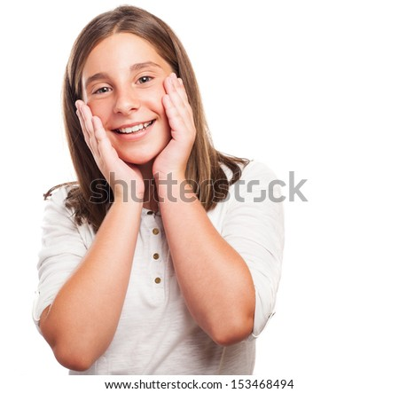 embarrassed girl gesturing on a white background - stock photo