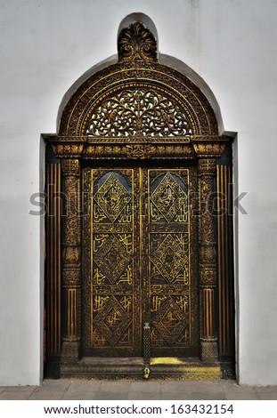 Antique Indian Style Wooden Door Stock Photo 102675737