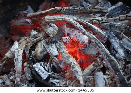 Embers close up - stock photo