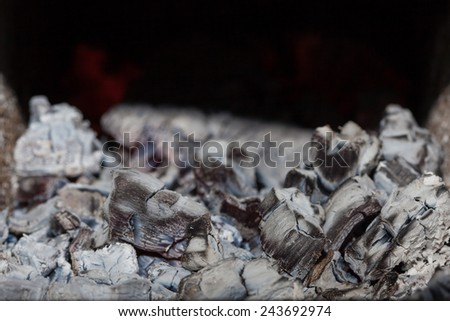 Embers in the ash - stock photo