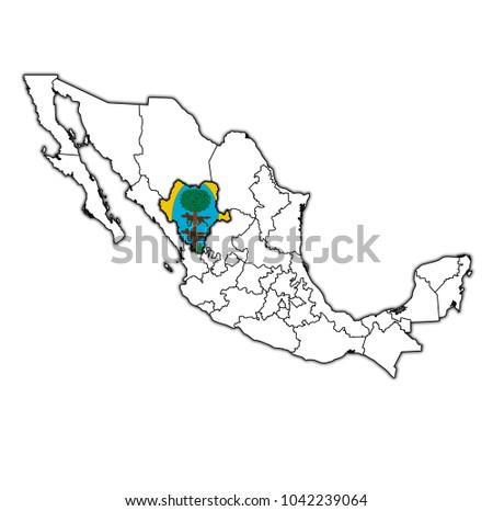 Emblem Nuevo Leon State On Map Stock Illustration 1042238749