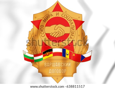 Emblem of the Warsaw Pact. 3D Illustration.