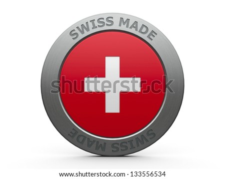 Emblem - Swiss made, three-dimensional rendering - stock photo
