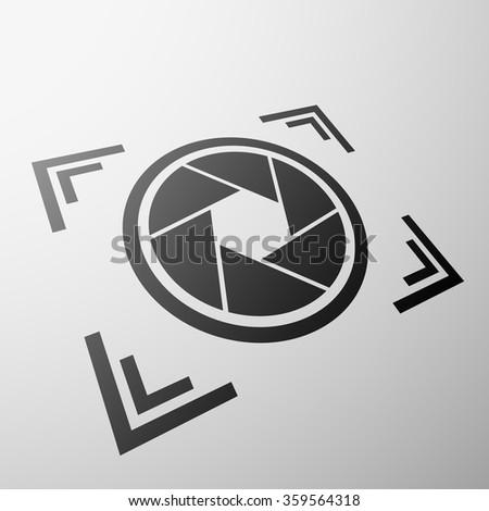 Emblem the camera aperture. Stock illustration. - stock photo