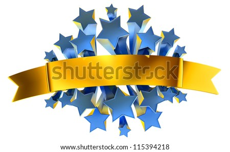 emblem with moving stars and golden metallic ribbon - stock photo