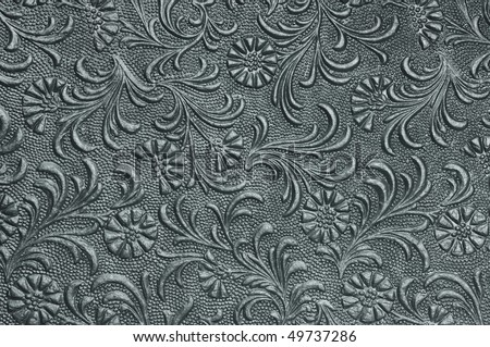 embossed floral panel, pewter - stock photo