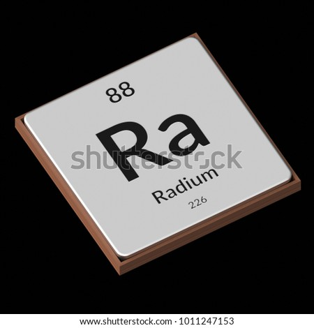 Embossed isolated metal plate displaying the chemical element Radium, its atomic weight, periodic number, and symbol on a black background. This image is a 3d render.