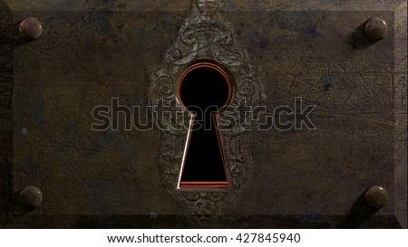 Embossed Keyhole An antique/fantasy keyhole waiting to be unlocked... 3d rendering. - stock photo