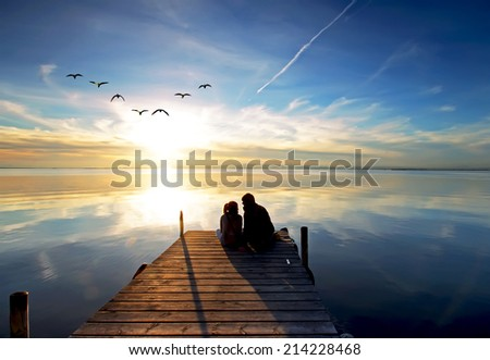 embraced at the sun - stock photo