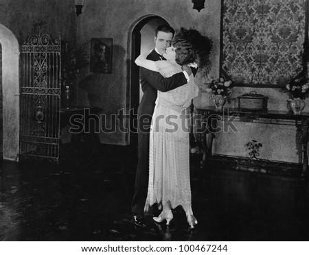 Embracing couple - stock photo