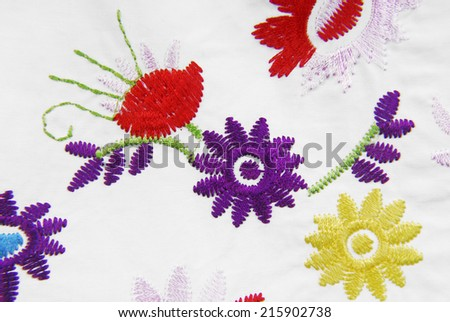 embroidered fabric texture in old style - stock photo
