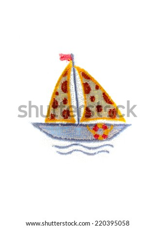 Embroidered good by cross-stitch pattern. The preety ship in the sea on white background - stock photo