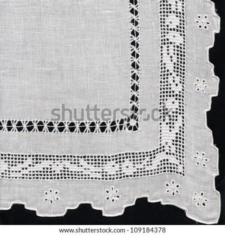 Embroidered towel corner - stock photo