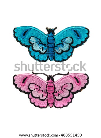 Embroidery, two butterflies isolate on white background