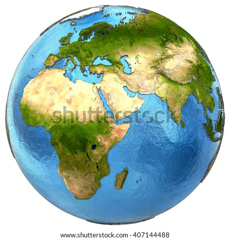 EMEA region on detailed model of planet Earth with continents lifted above blue ocean waters. 3D Illustration. Elements of this image furnished by NASA.