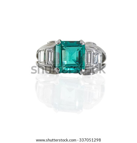 Emerald and Diamond Ring - stock photo