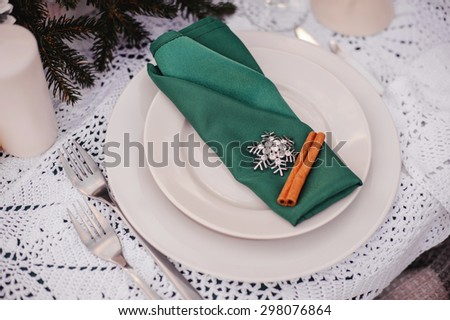 emerald and silver winter wedding table decor with cinnamon - stock photo