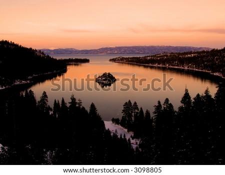 Emerald Bay after sunset, Lake Tahoe - stock photo