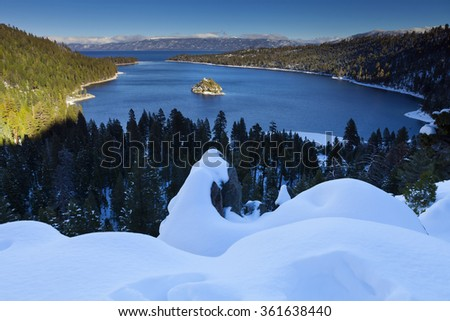Emerald Bay, Lake Tahoe, California in winter with snow. - stock photo