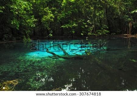 Emerald blue Pool (Sramorakot) Krabi province, Unseen Thailand - stock photo