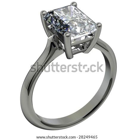 emerald cut diamond platinum solitaire engagement ring on white - stock photo