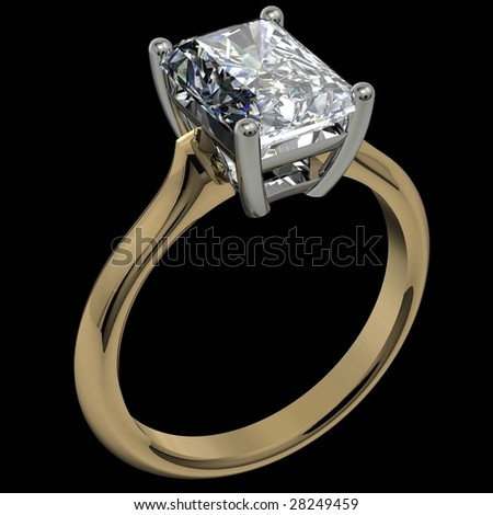 emerald cut diamond two tone solitaire engagement ring on black