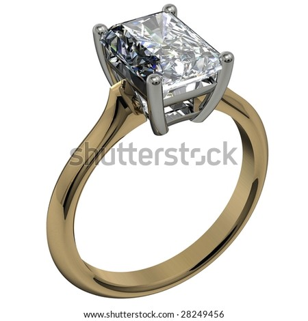 emerald cut diamond two tone solitaire engagement ring on white