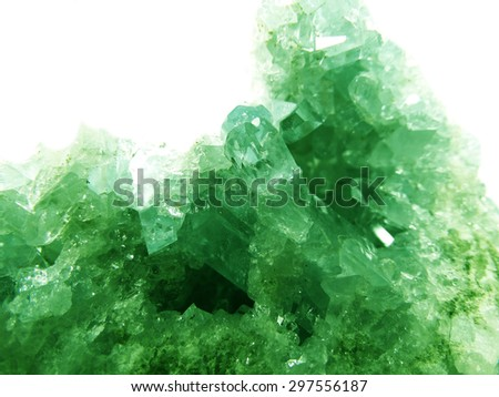 emerald gem geode crystals geological mineral isolated