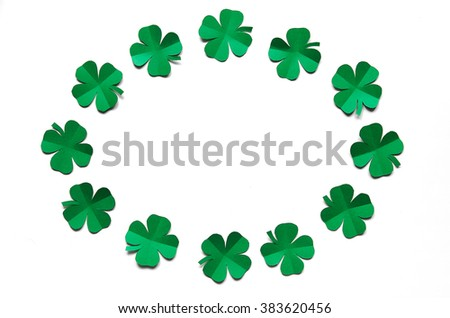 Emerald Green Paper Clover Shamrock Leafs Stock Photo 383620456