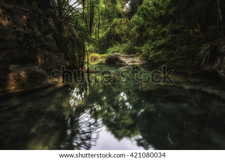emerald green water in deep forest.   - stock photo