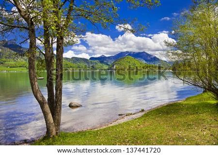 Emerald lake -amazing nature of Alps, st.Wolfgang. Austria - stock photo