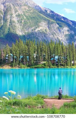Emerald lake and Rocky Mountains (Yoho National park. Alberta. Canada) - stock photo