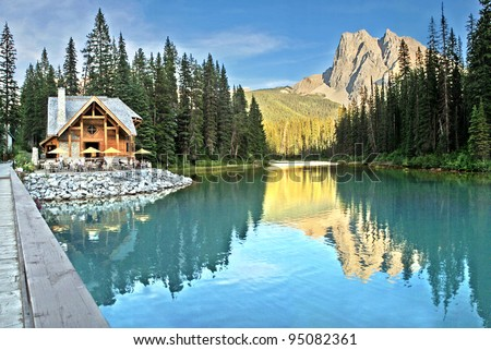 Emerald Lake and Tea House, Near Field, British Columbia, Yoho National Park, Canada Mount Burgess can be seen reflected into the water.