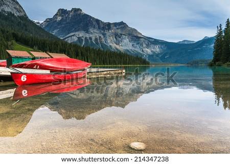 emerald lake canoe rental at the Yoho National Park canada  - stock photo