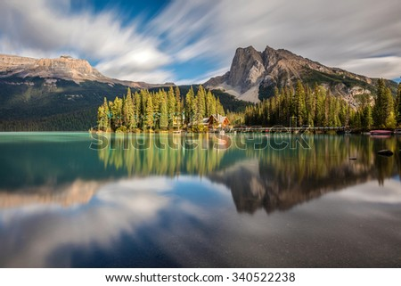 Emerald Lake Dreamy landscape, Yoho National Park, British Columbia - stock photo