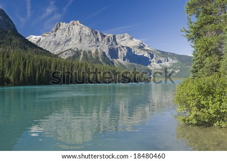 Emerald Lake in Yoho National Park with Rockies in the background