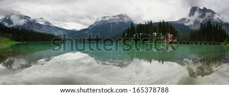 Emerald lake panorama in Yoho national park, Canada - stock photo