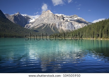 Emerald Lake & The President Peak, Yoho National Park, British Columbia, Canada - stock photo