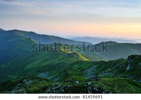 Emerald morning Carpathian Mountains - stock photo
