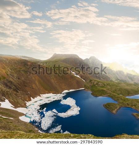 emerald mountain lake - stock photo