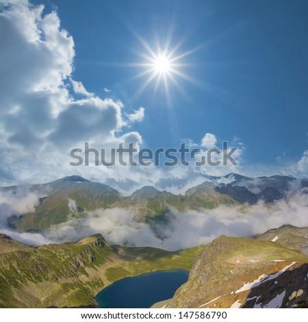 emerald mountain lake scene - stock photo