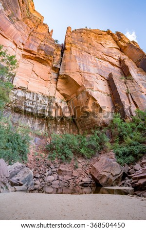 Emerald Pools in the Zion National Park, Utah - stock photo