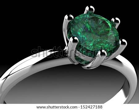 emerald ring  (high resolution 3D image) - stock photo