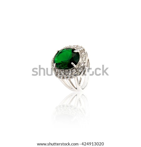 Emerald Ring isolated on white. - stock photo